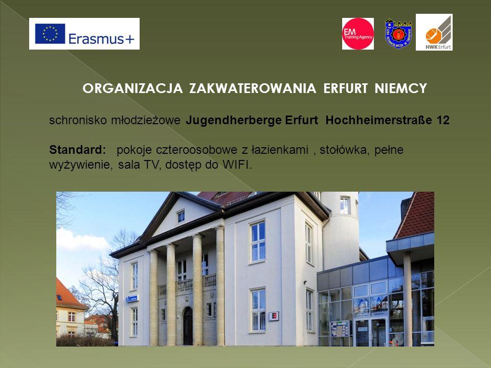 ORGANIZACJA ZAKWATEROWANIA ERFURT NIEMCY schronisko młodzieżowe Jugendherberge Erfurt Hochheimerstraße 12 Standard: pokoje czteroosobowe z łazienkami, stołówka, pełne wyżywienie, sala TV, dostęp do WIFI.