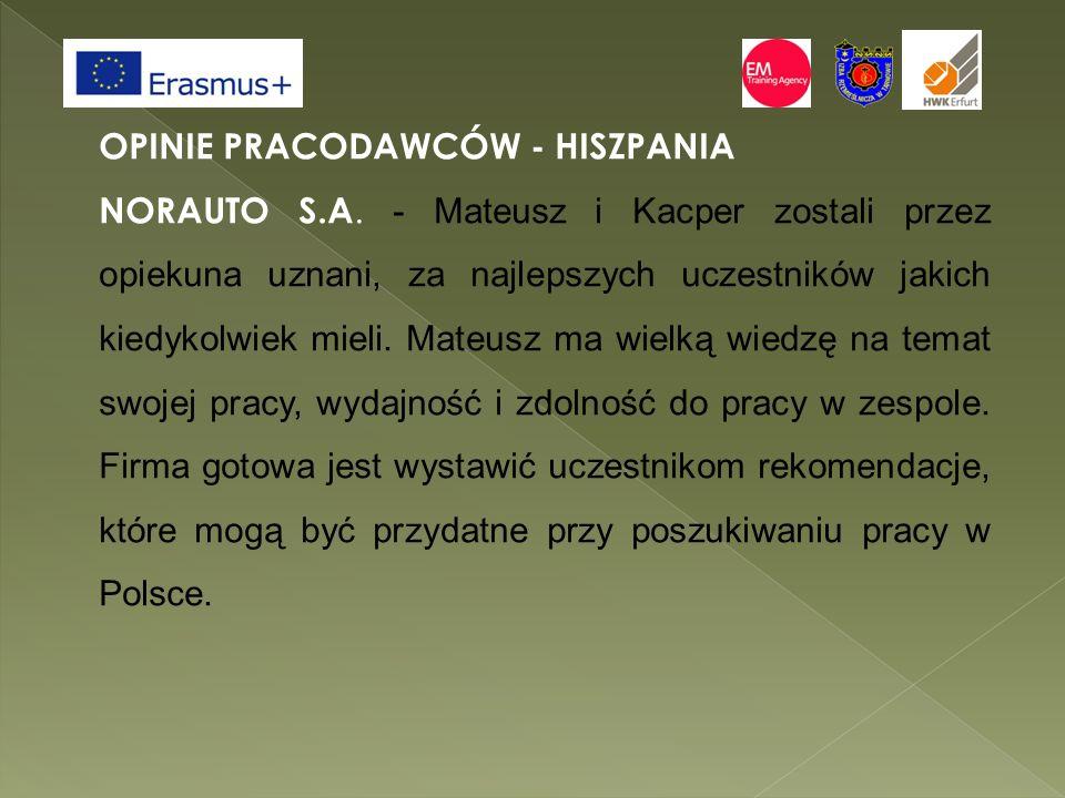 OPINIE PRACODAWCÓW - HISZPANIA NORAUTO S.A.