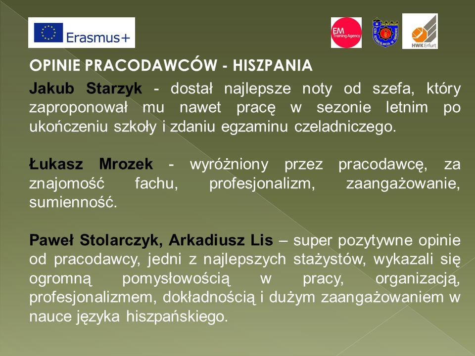 OPINIE PRACODAWCÓW - HISZPANIA Jakub Starzyk - dostał najlepsze noty od szefa, który zaproponował mu nawet pracę w sezonie letnim po ukończeniu szkoły