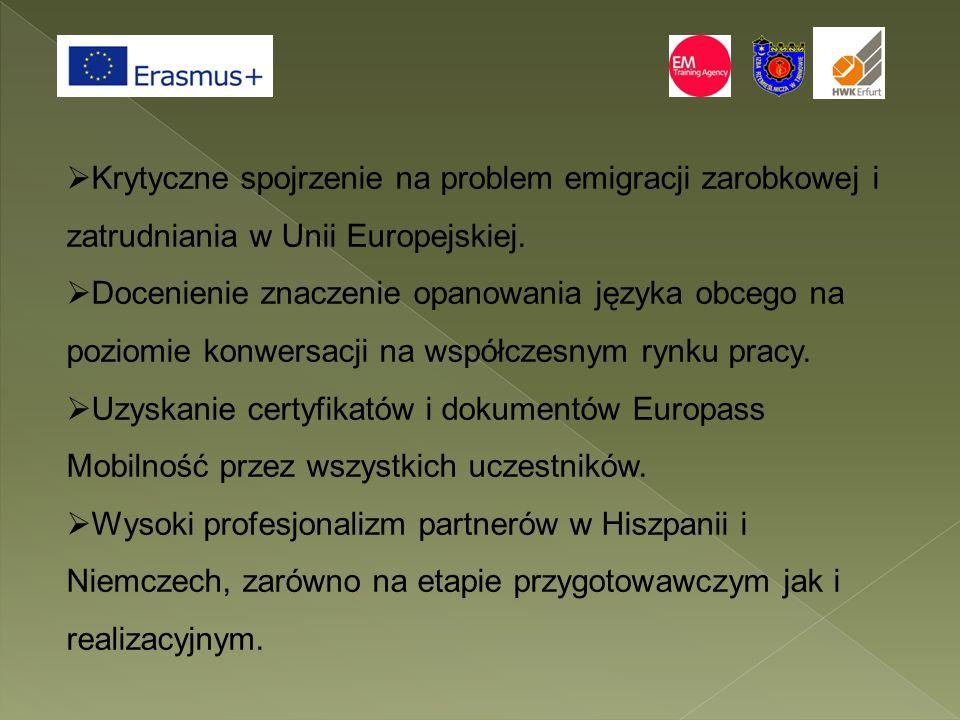  Krytyczne spojrzenie na problem emigracji zarobkowej i zatrudniania w Unii Europejskiej.  Docenienie znaczenie opanowania języka obcego na poziomie