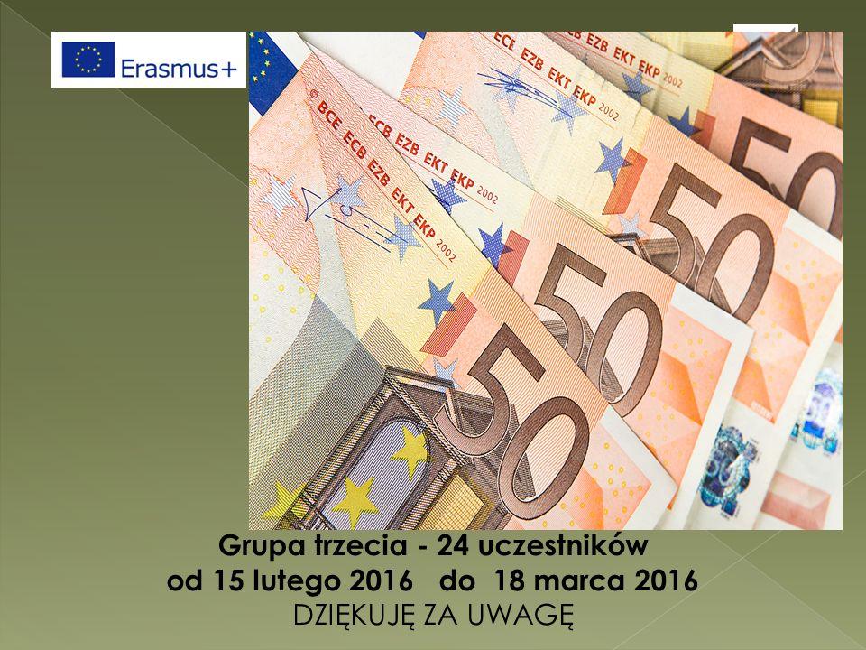 Grupa trzecia - 24 uczestników od 15 lutego 2016 do 18 marca 2016 DZIĘKUJĘ ZA UWAGĘ
