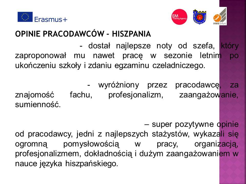 OPINIE PRACODAWCÓW - HISZPANIA Jakub Starzyk - dostał najlepsze noty od szefa, który zaproponował mu nawet pracę w sezonie letnim po ukończeniu szkoły i zdaniu egzaminu czeladniczego.