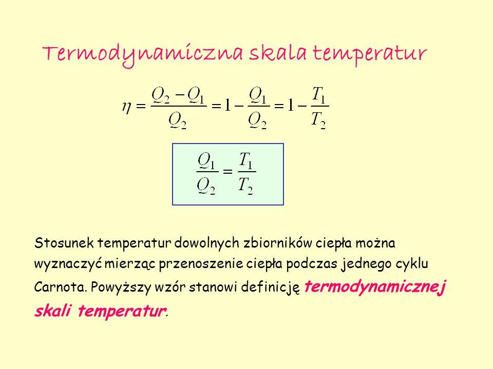 Termodynamiczna skala temperatur Stosunek temperatur dowolnych zbiorników ciepła można wyznaczyć mierząc przenoszenie ciepła podczas jednego cyklu Carnota.