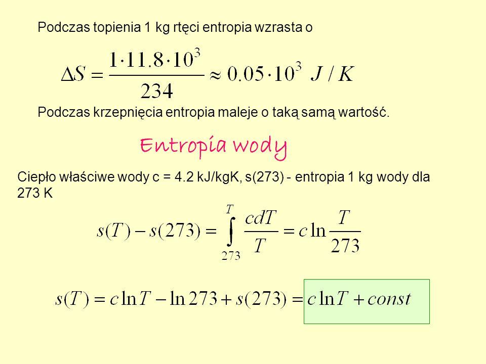 Podczas topienia 1 kg rtęci entropia wzrasta o Podczas krzepnięcia entropia maleje o taką samą wartość.