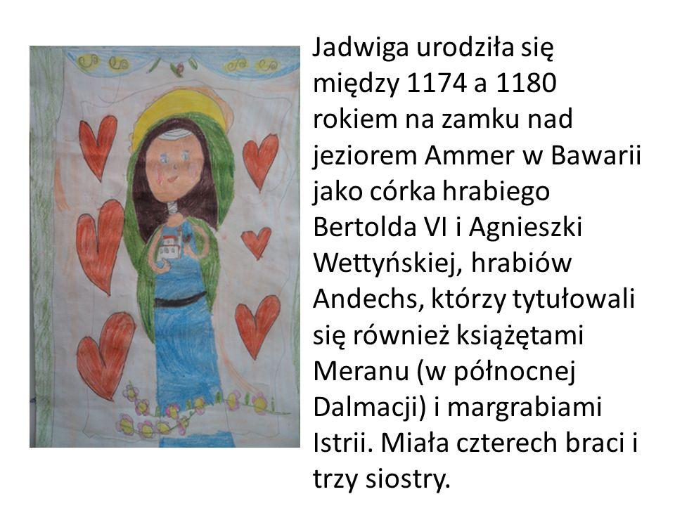 Jadwiga urodziła się między 1174 a 1180 rokiem na zamku nad jeziorem Ammer w Bawarii jako córka hrabiego Bertolda VI i Agnieszki Wettyńskiej, hrabiów