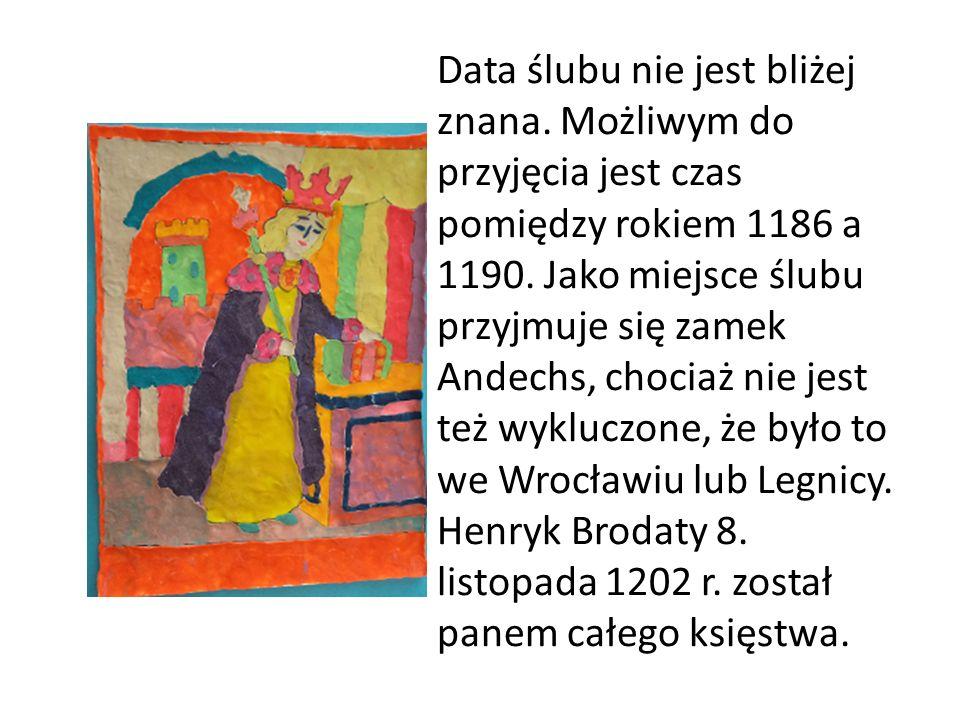 Data ślubu nie jest bliżej znana. Możliwym do przyjęcia jest czas pomiędzy rokiem 1186 a 1190. Jako miejsce ślubu przyjmuje się zamek Andechs, chociaż