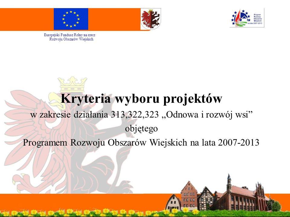 """Kryteria wyboru projektów w zakresie działania 313,322,323 """"Odnowa i rozwój wsi objętego Programem Rozwoju Obszarów Wiejskich na lata 2007-2013 Europejski Fundusz Rolny na rzecz Rozwoju Obszarów Wiejskich"""