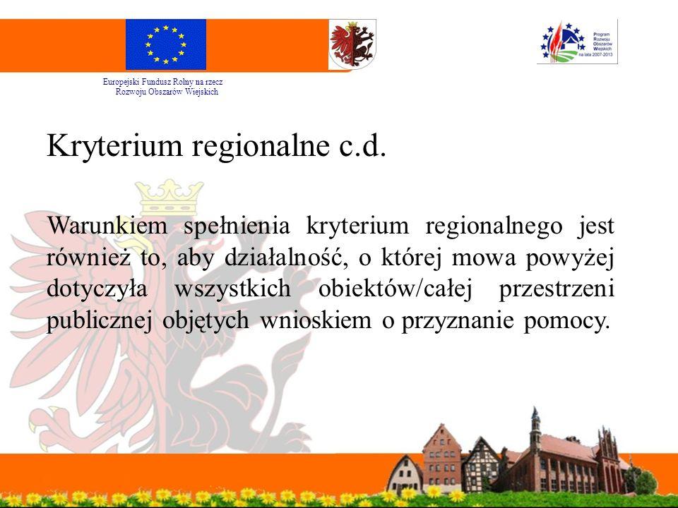 Kryterium regionalne c.d.