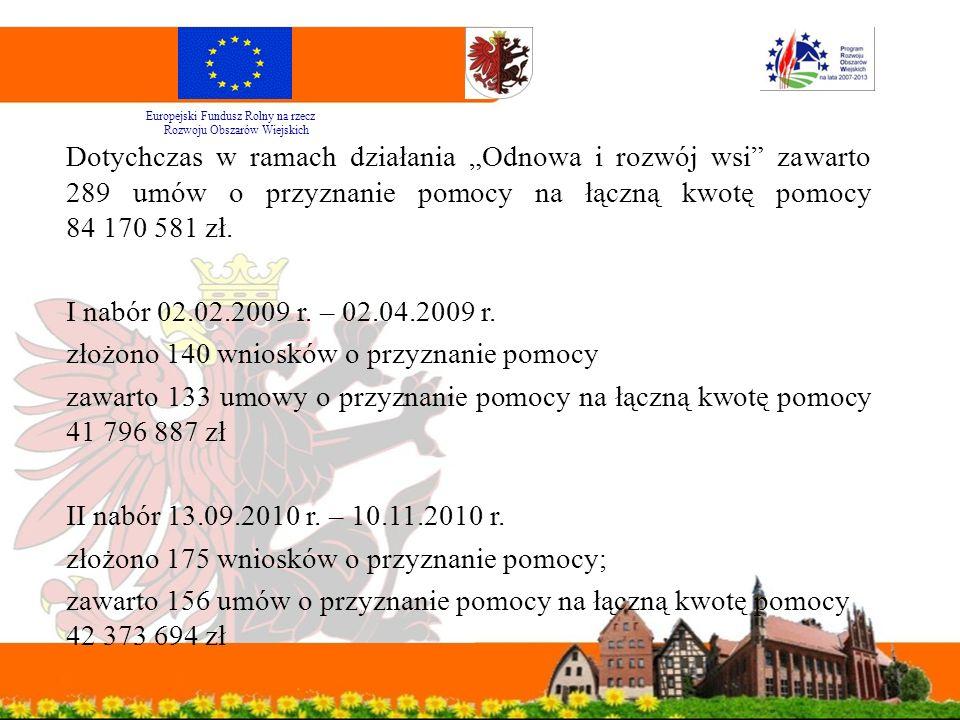 """Dotychczas w ramach działania """"Odnowa i rozwój wsi zawarto 289 umów o przyznanie pomocy na łączną kwotę pomocy 84 170 581 zł."""