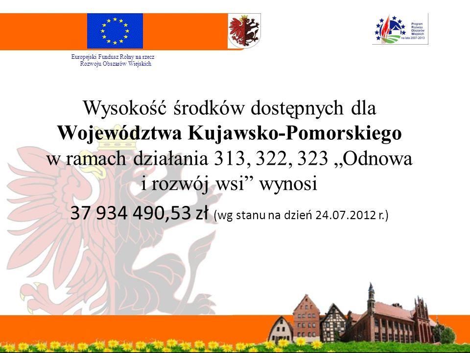 """Wysokość środków dostępnych dla Województwa Kujawsko-Pomorskiego w ramach działania 313, 322, 323 """"Odnowa i rozwój wsi wynosi 37 934 490,53 zł (wg stanu na dzień 24.07.2012 r.) Europejski Fundusz Rolny na rzecz Rozwoju Obszarów Wiejskich"""