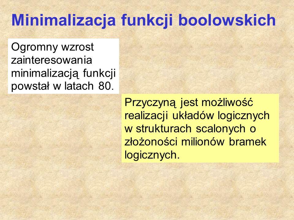 Minimalizacja funkcji boolowskich Ogromny wzrost zainteresowania minimalizacją funkcji powstał w latach 80.