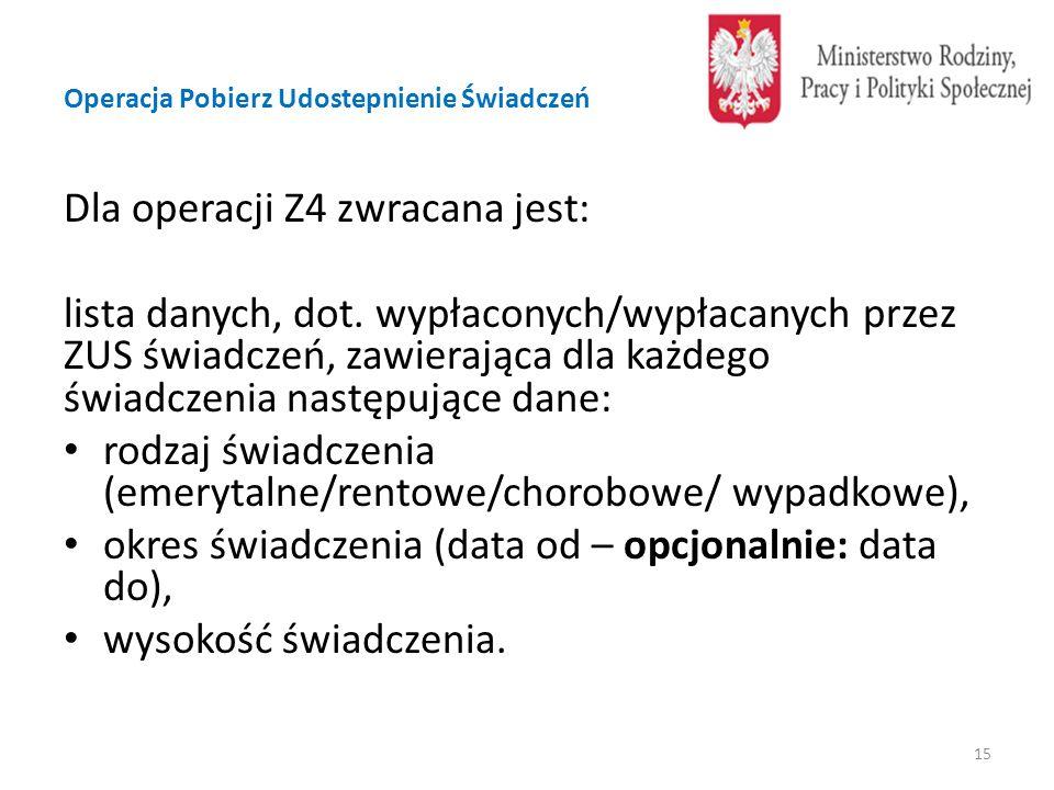Operacja Pobierz Udostepnienie Świadczeń Dla operacji Z4 zwracana jest: lista danych, dot.