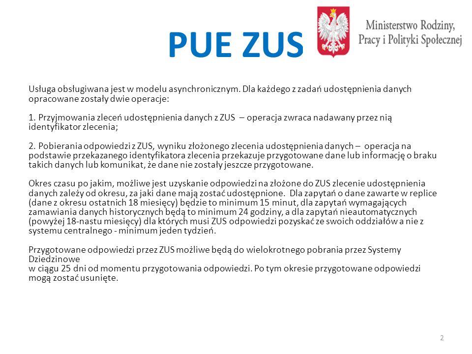 Operacja Zleć Udostepnienie Świadczeń Zwrotnie przekazywany jest jednoznaczny identyfikator zlecenia złożonego do PUE-ZUS, który będzie służył do pobrania z PUE-ZUS przygotowanej odpowiedzi.