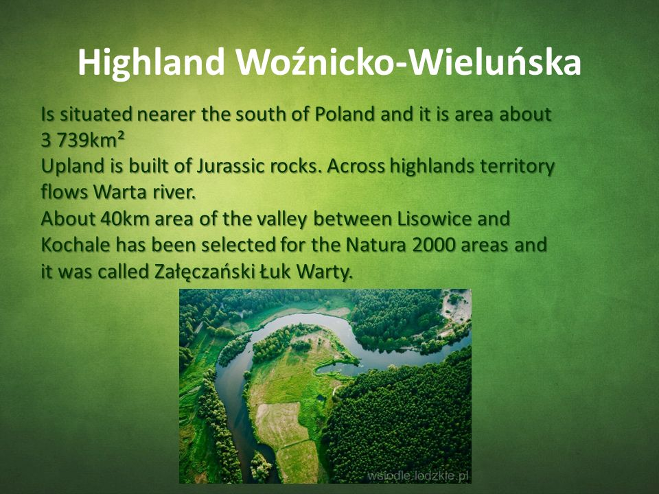 Highland Woźnicko-Wieluńska Is situated nearer the south of Poland and it is area about 3 739km² Upland is built of Jurassic rocks.