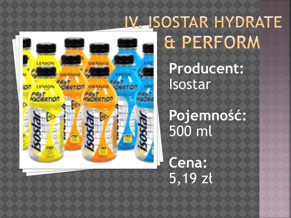 Producent: Isostar Pojemność: 500 ml Cena: 5,19 zł