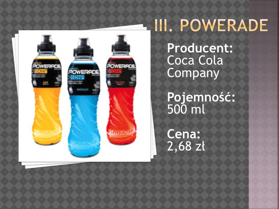 Producent: Coca Cola Company Pojemność: 500 ml Cena: 2,68 zł