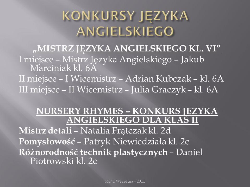 """""""MISTRZ JĘZYKA ANGIELSKIEGO KL. VI I miejsce – Mistrz Języka Angielskiego – Jakub Marciniak kl."""