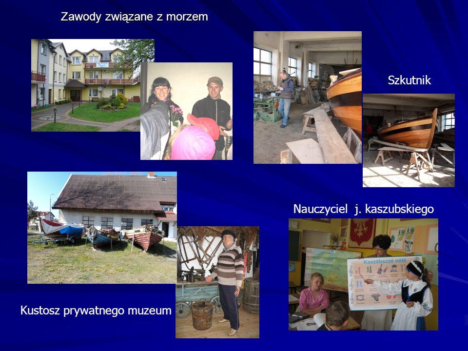 Zawody związane z morzem Szkutnik Nauczyciel j. kaszubskiego Kustosz prywatnego muzeum