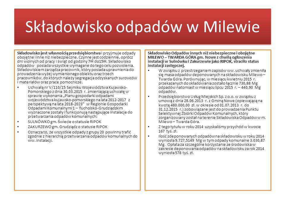 Składowisko odpadów w Milewie Składowisko jest własnością przedsiębiorstwa i przyjmuje odpady obojętne i inne niż niebezpieczne.