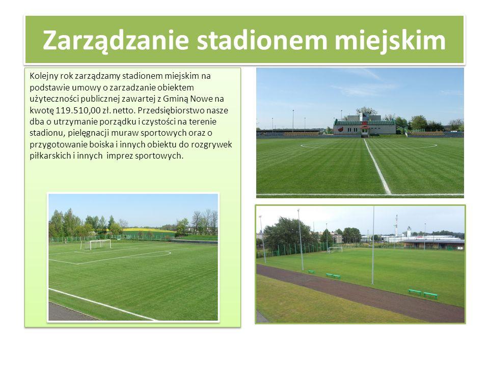 Zarządzanie stadionem miejskim Kolejny rok zarządzamy stadionem miejskim na podstawie umowy o zarzadzanie obiektem użyteczności publicznej zawartej z Gminą Nowe na kwotę 119.510,00 zł.