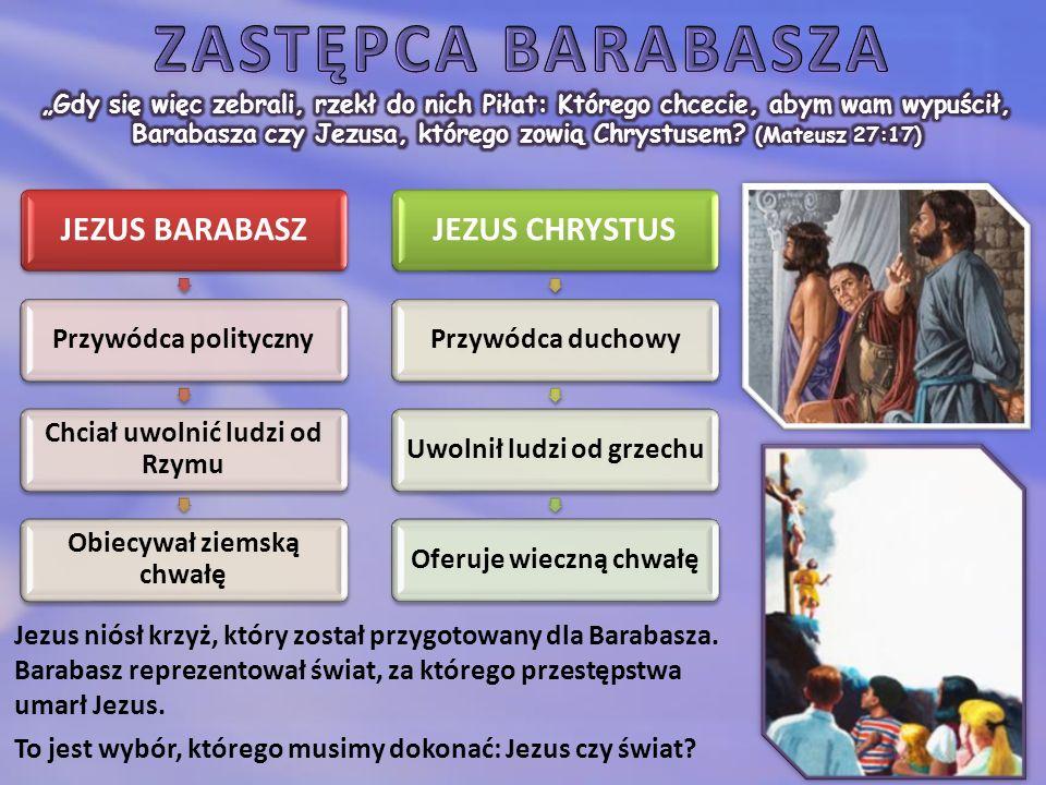 JEZUS BARABASZ Przywódca polityczny Chciał uwolnić ludzi od Rzymu Obiecywał ziemską chwałę JEZUS CHRYSTUS Przywódca duchowyUwolnił ludzi od grzechuOferuje wieczną chwałę Jezus niósł krzyż, który został przygotowany dla Barabasza.