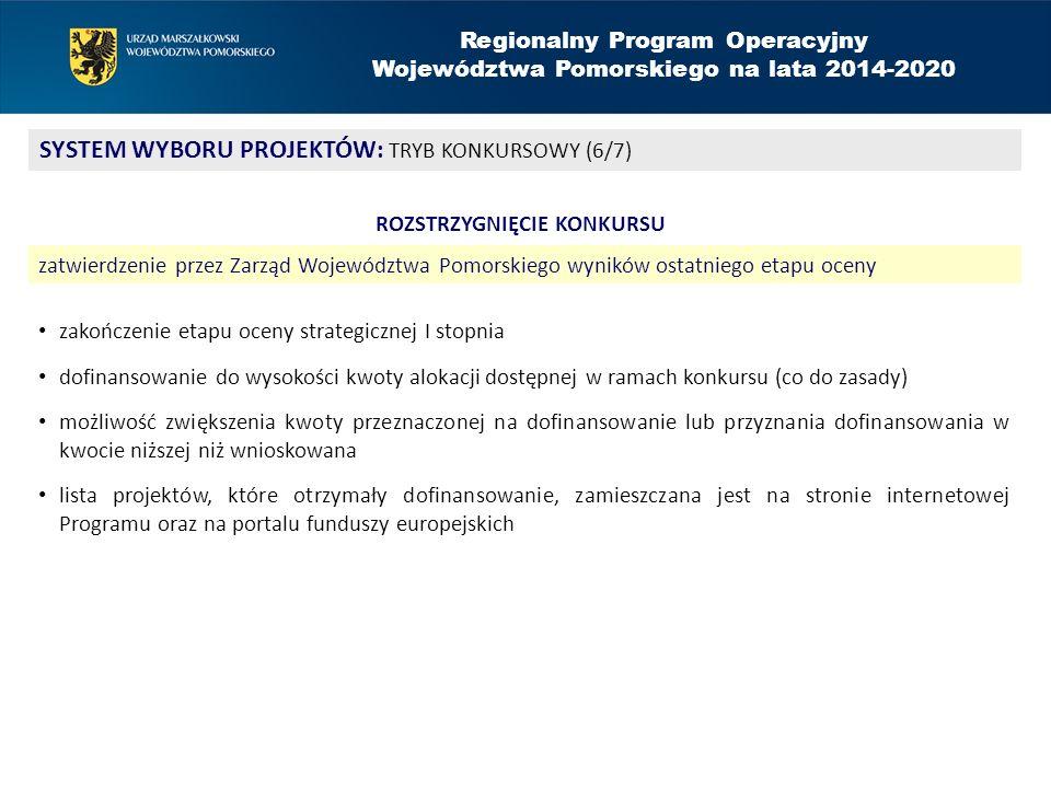 Regionalny Program Operacyjny Województwa Pomorskiego na lata 2014-2020 SYSTEM WYBORU PROJEKTÓW: TRYB KONKURSOWY (6/7) ROZSTRZYGNIĘCIE KONKURSU zatwie