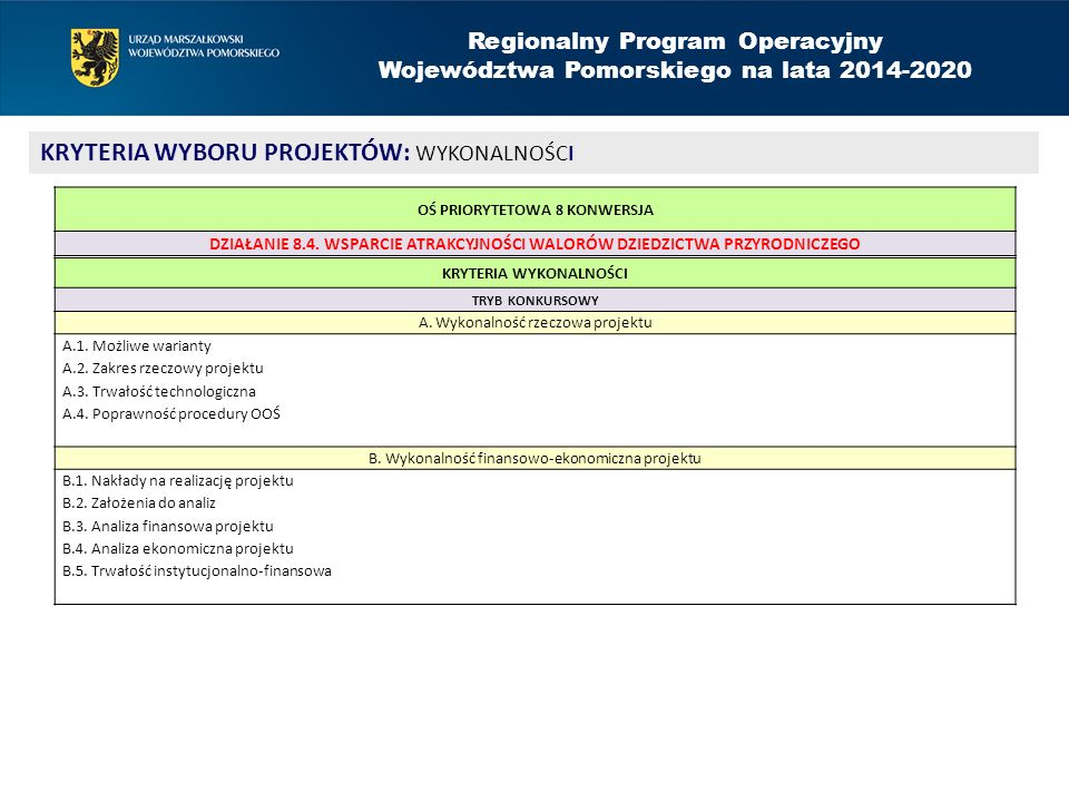 Regionalny Program Operacyjny Województwa Pomorskiego na lata 2014-2020 KRYTERIA WYBORU PROJEKTÓW: WYKONALNOŚCI KRYTERIA WYKONALNOŚCI TRYB KONKURSOWY A.