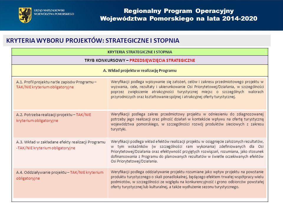 Regionalny Program Operacyjny Województwa Pomorskiego na lata 2014-2020 KRYTERIA WYBORU PROJEKTÓW: STRATEGICZNE I STOPNIA KRYTERIA STRATEGICZNE I STOPNIA TRYB KONKURSOWY – PRZEDSIĘWZIĘCIA STRATEGICZNE A.