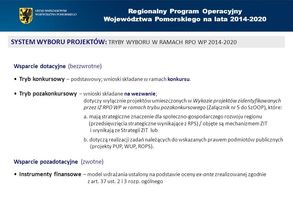 Regionalny Program Operacyjny Województwa Pomorskiego na lata 2014-2020 SYSTEM WYBORU PROJEKTÓW: TRYBY WYBORU W RAMACH RPO WP 2014-2020 Wsparcie dotac
