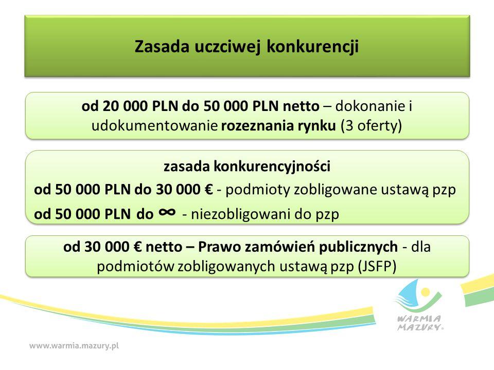 Zasada uczciwej konkurencji od 20 000 PLN do 50 000 PLN netto – dokonanie i udokumentowanie rozeznania rynku (3 oferty) zasada konkurencyjności od 50