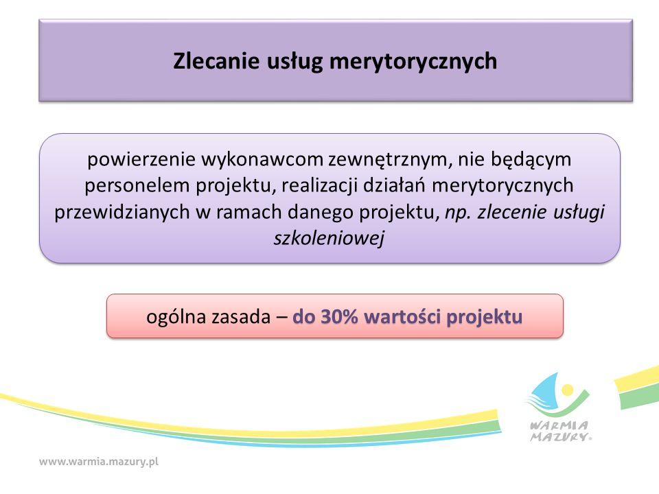 Zlecanie usług merytorycznych powierzenie wykonawcom zewnętrznym, nie będącym personelem projektu, realizacji działań merytorycznych przewidzianych w