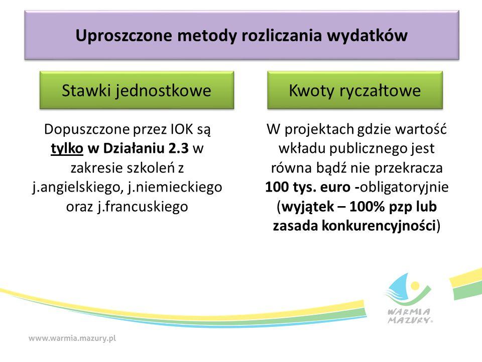 Uproszczone metody rozliczania wydatków W projektach gdzie wartość wkładu publicznego jest równa bądź nie przekracza 100 tys. euro -obligatoryjnie (wy