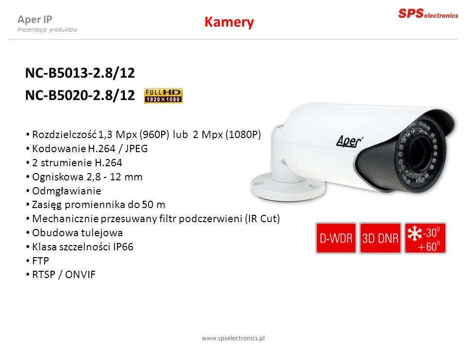 NC-B5013-2.8/12 NC-B5020-2.8/12 Rozdzielczość 1,3 Mpx (960P) lub 2 Mpx (1080P) Kodowanie H.264 / JPEG 2 strumienie H.264 Ogniskowa 2,8 - 12 mm Odmgław