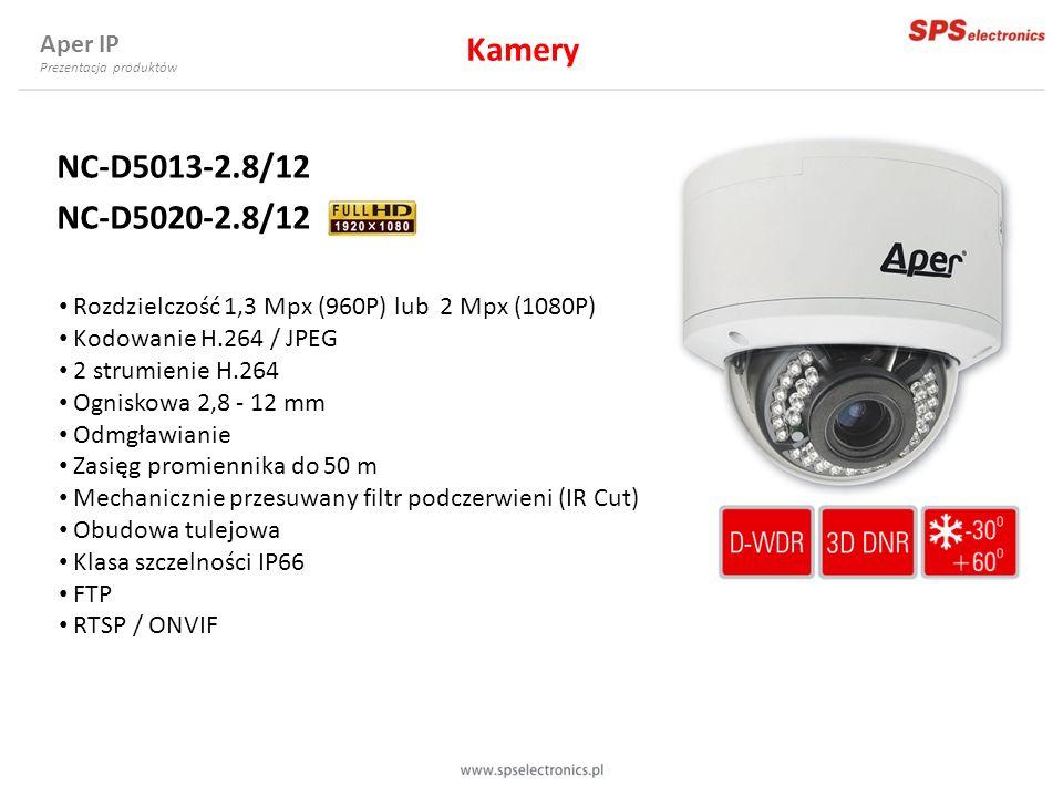NC-D5013-2.8/12 NC-D5020-2.8/12 Rozdzielczość 1,3 Mpx (960P) lub 2 Mpx (1080P) Kodowanie H.264 / JPEG 2 strumienie H.264 Ogniskowa 2,8 - 12 mm Odmgław