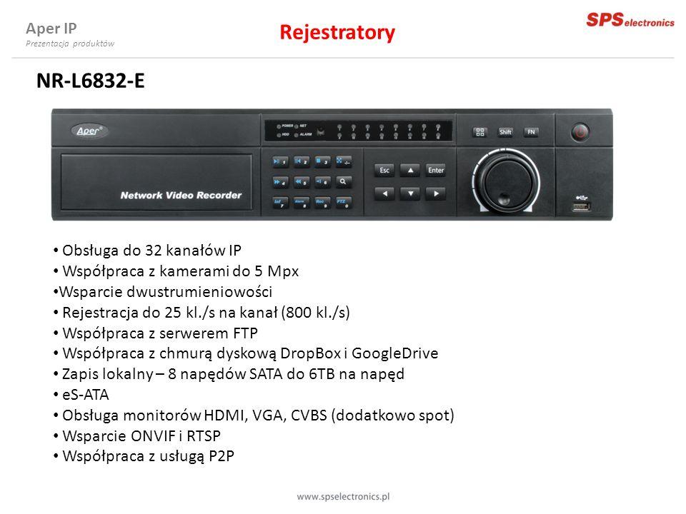 NR-L6832-E Obsługa do 32 kanałów IP Współpraca z kamerami do 5 Mpx Wsparcie dwustrumieniowości Rejestracja do 25 kl./s na kanał (800 kl./s) Współpraca