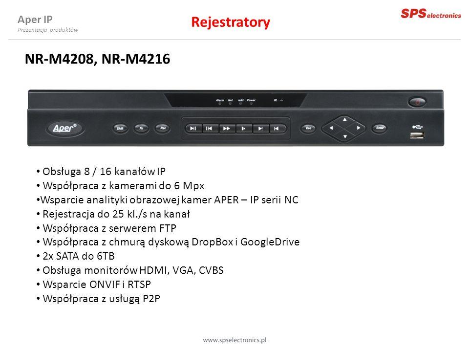 NR-M4208, NR-M4216 Obsługa 8 / 16 kanałów IP Współpraca z kamerami do 6 Mpx Wsparcie analityki obrazowej kamer APER – IP serii NC Rejestracja do 25 kl