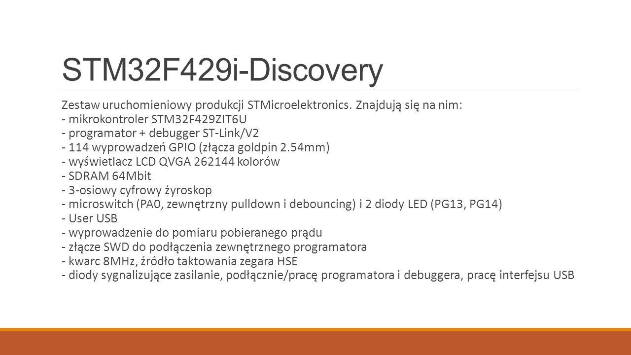 STM32F429i-Discovery Zestaw uruchomieniowy produkcji STMicroelektronics.
