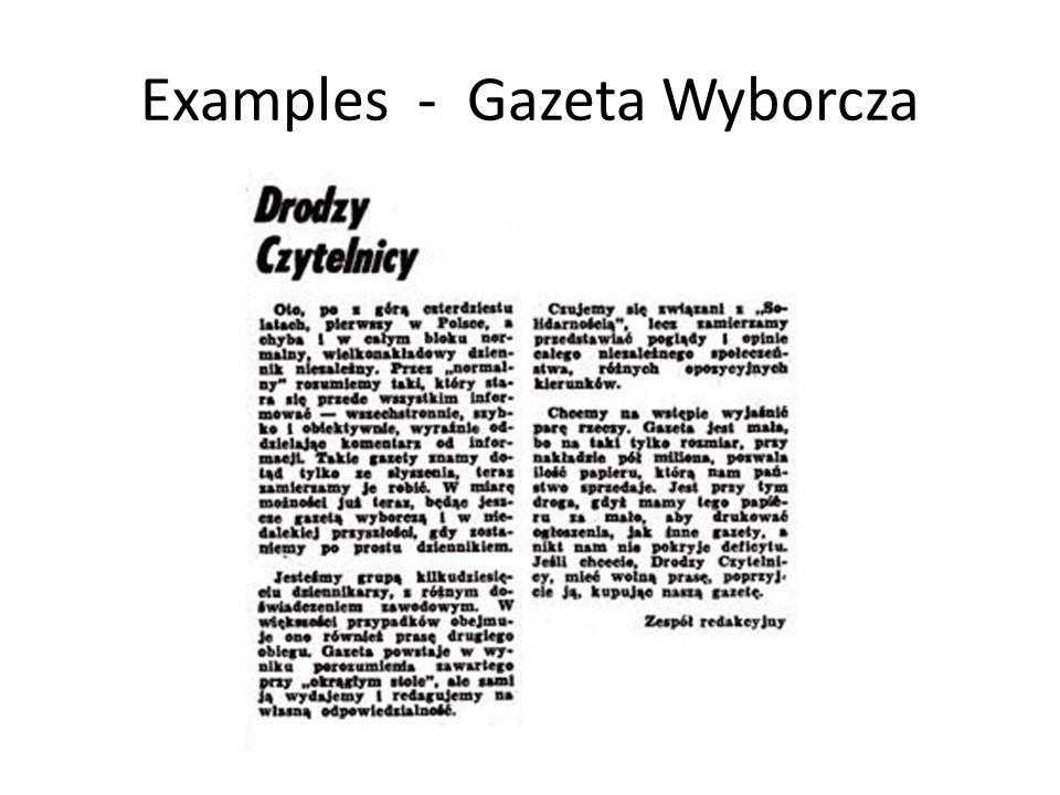 Examples - Gazeta Wyborcza