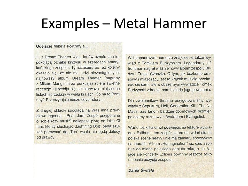 Examples – Metal Hammer