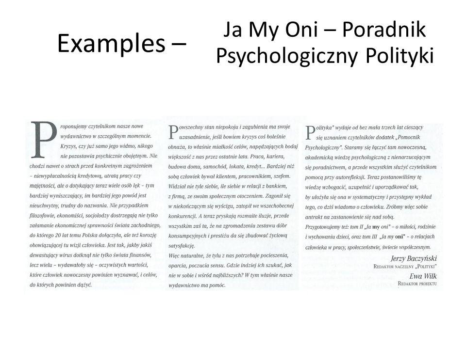 Examples – Ja My Oni – Poradnik Psychologiczny Polityki