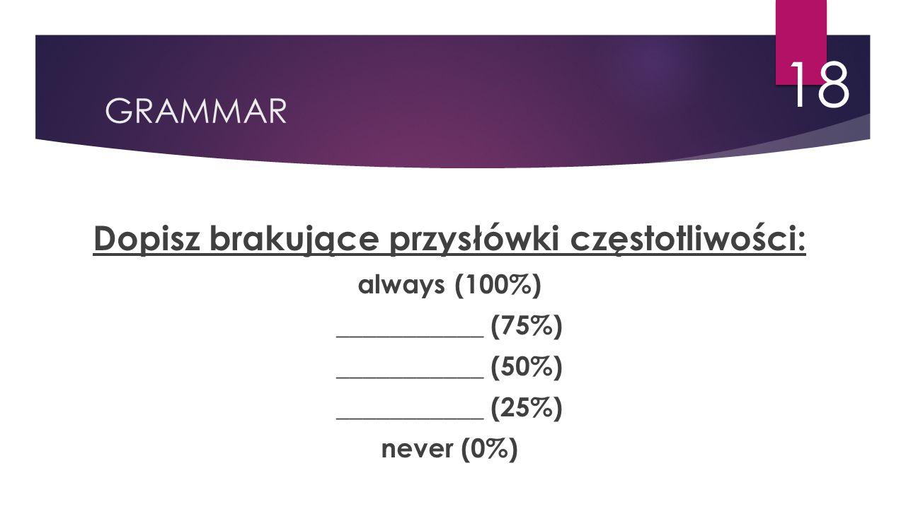 GRAMMAR 18 Dopisz brakujące przysłówki częstotliwości: always (100%) ___________ (75%) ___________ (50%) ___________ (25%) never (0%)