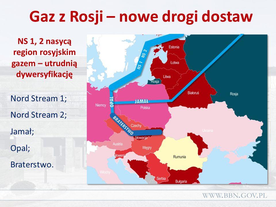 Gaz z Rosji – nowe drogi dostaw NS 1, 2 nasycą region rosyjskim gazem – utrudnią dywersyfikację Nord Stream 1; Nord Stream 2; Jamał; Opal; Braterstwo.