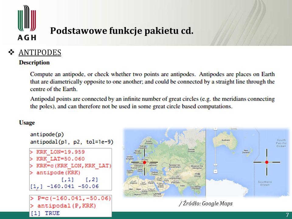 Podstawowe funkcje pakietu cd.  ANTIPODES 7 / Źródło: Google Maps