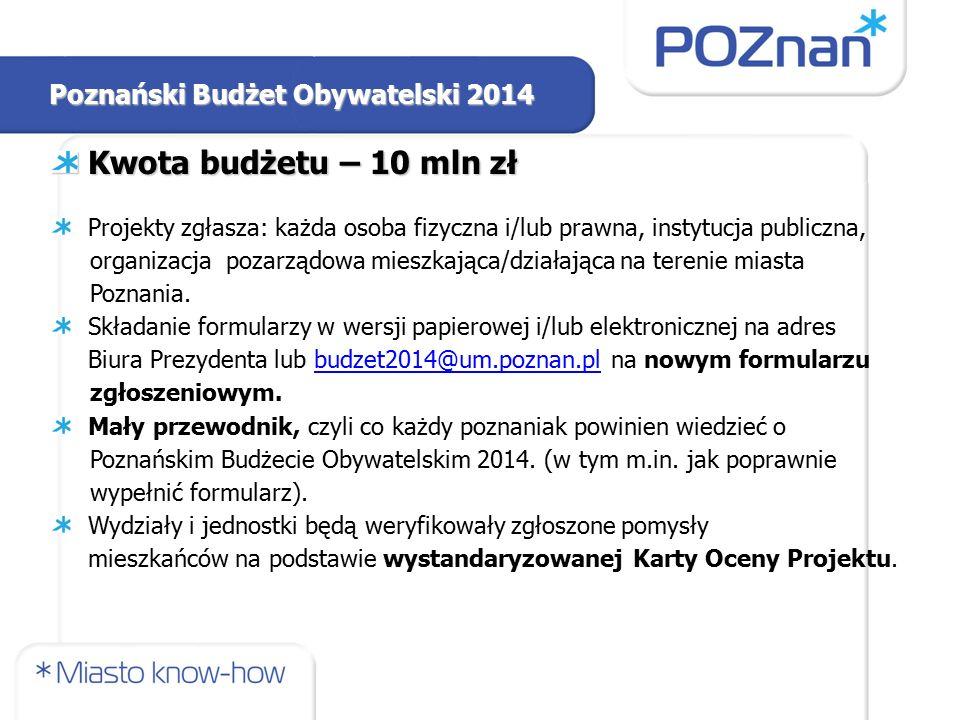 Poznański Budżet Obywatelski 2014 Kwota budżetu – 10 mln zł Projekty zgłasza: każda osoba fizyczna i/lub prawna, instytucja publiczna, organizacja pozarządowa mieszkająca/działająca na terenie miasta Poznania.