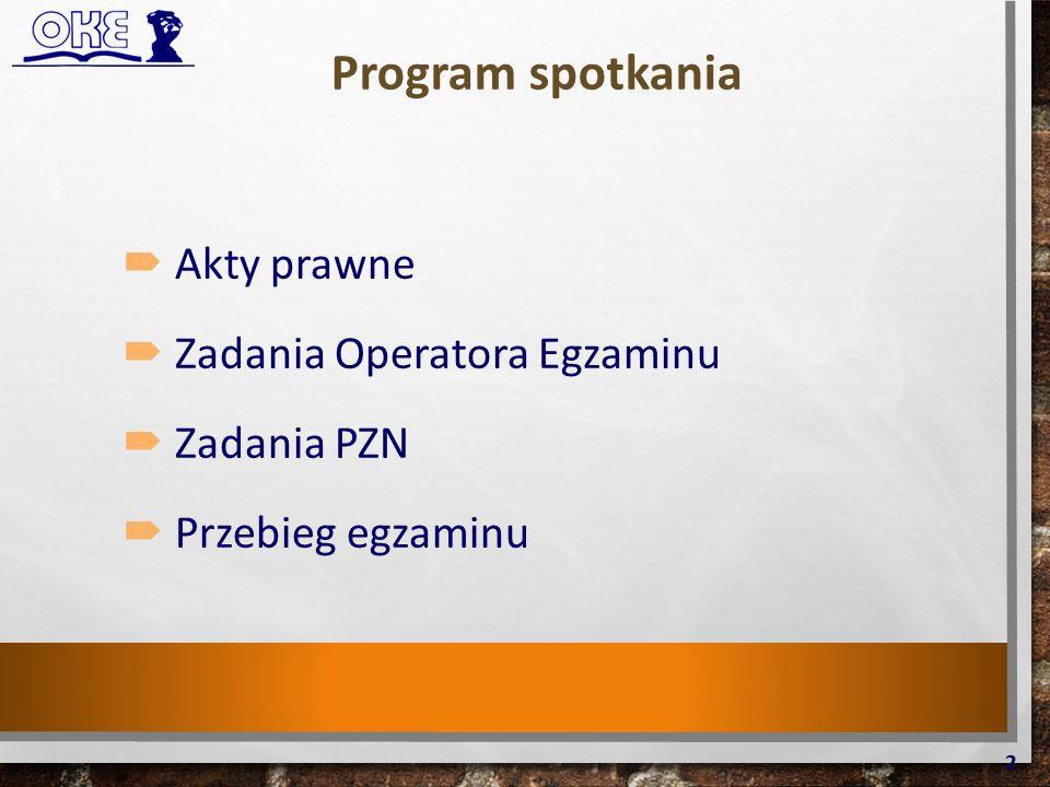 Program spotkania  Akty prawne  Zadania Operatora Egzaminu  Zadania PZN  Przebieg egzaminu 2