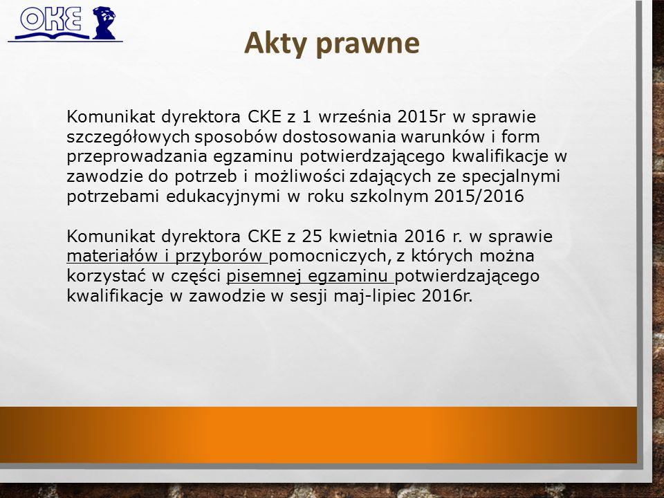 Akty prawne Komunikat dyrektora CKE z 1 września 2015r w sprawie szczegółowych sposobów dostosowania warunków i form przeprowadzania egzaminu potwierdzającego kwalifikacje w zawodzie do potrzeb i możliwości zdających ze specjalnymi potrzebami edukacyjnymi w roku szkolnym 2015/2016 Komunikat dyrektora CKE z 25 kwietnia 2016 r.