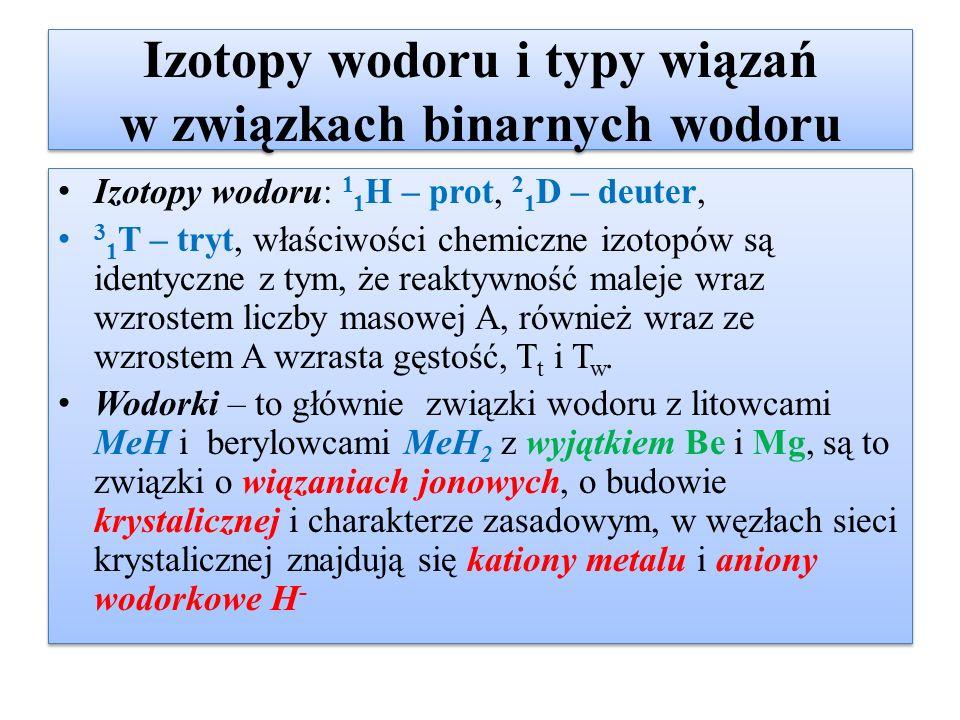 Izotopy wodoru i typy wiązań w związkach binarnych wodoru Izotopy wodoru: 1 1 H – prot, 2 1 D – deuter, 3 1 T – tryt, właściwości chemiczne izotopów s