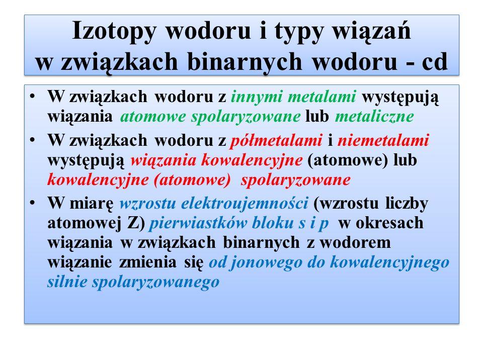 Izotopy wodoru i typy wiązań w związkach binarnych wodoru - cd W związkach wodoru z innymi metalami występują wiązania atomowe spolaryzowane lub metal