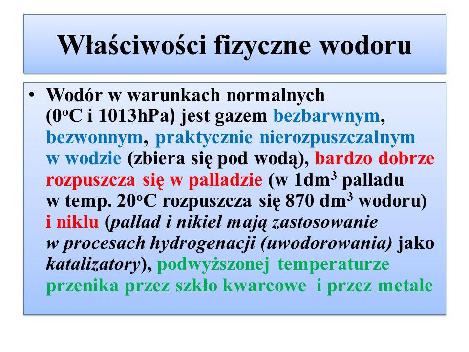 Właściwości fizyczne wodoru Wodór w warunkach normalnych (0 o C i 1013hPa ) jest gazem bezbarwnym, bezwonnym, praktycznie nierozpuszczalnym w wodzie (