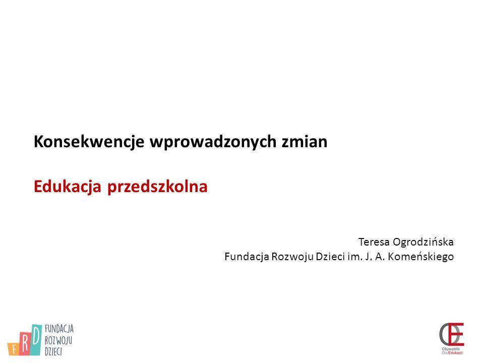 Konsekwencje wprowadzonych zmian Edukacja przedszkolna Teresa Ogrodzińska Fundacja Rozwoju Dzieci im.